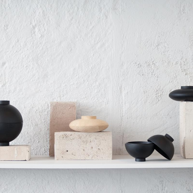 Wooden Sphere | Black-Storage Decor-agos - co