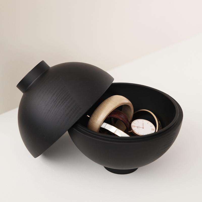 XL Wooden Sphere | Black-Storage Decor-agos - co