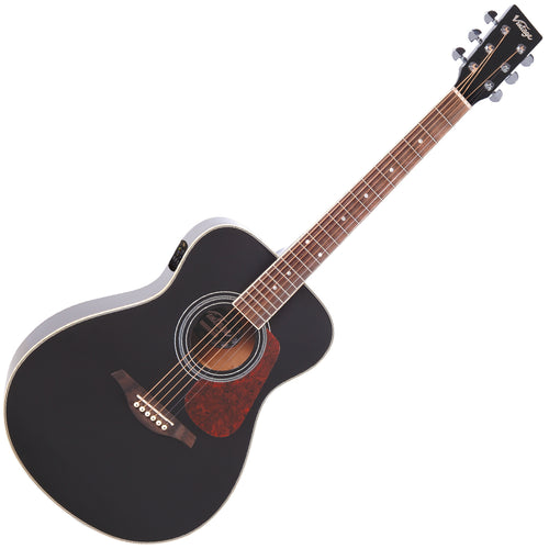 Vintage VE330 Electro-Acoustic Folk Guitar ~ Gloss Black