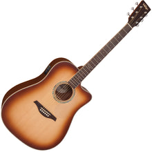 Load image into Gallery viewer, Vintage VEC550 Electro-Acoustic Dreadnought Guitar ~ Satin Tobacco Sunburst