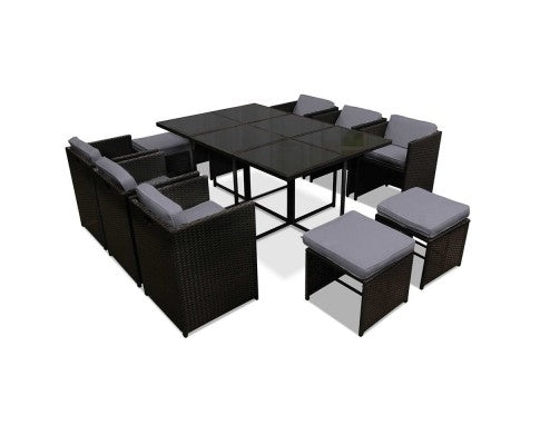 11 Piece PE Wicker Outdoor Rattan Dining Set - Nextlevel Furniture Australia