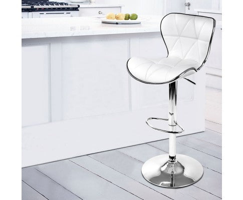 Set of 2 Swivel Leather Bar Stool