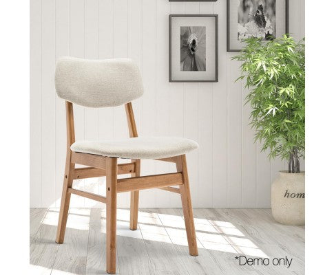Set of 2 Wood & Fabric Dining Chair - Beige - Nextlevel Furniture Australia