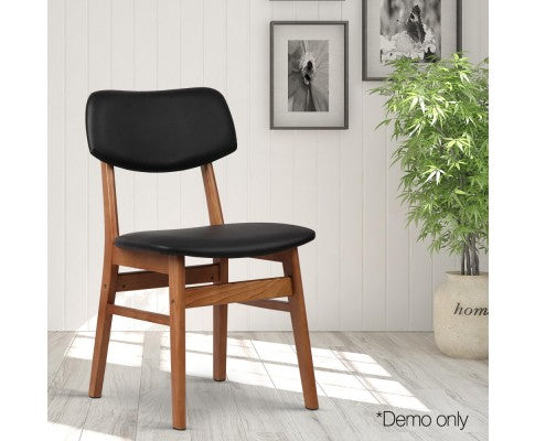 Set of 2 Wood & Fabric Dining Chair - Black and Walnut - Nextlevel Furniture Australia