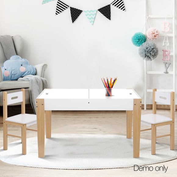 Kid's Table and Chair Storage Desk - White & Natural