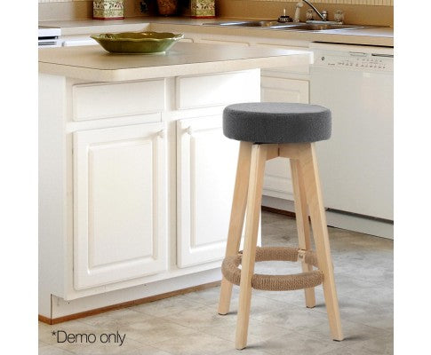 Set of 2 Linen Fabric Round Bar Stool - Grey