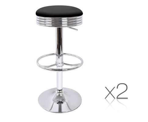 Set of 2 Vinyl Swivel Backless Bar Stool