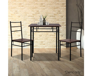 Metal Frame Table and Chairs - Walnut & Black