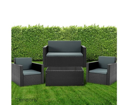 4 Piece PE Wicker Aluminum Frame Outdoor Lounge Set - Black - Nextlevel Furniture Australia