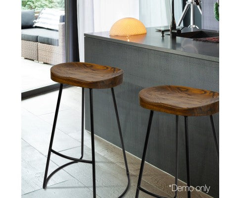 Set of 2 Industrial Wood Backless Bar Stool 75cm Tall - Nextlevel Furniture Australia