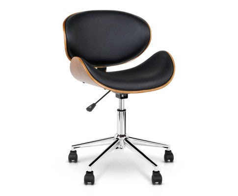 Wooden & Vinyl (PU Leather) Office Desk Chair - Black