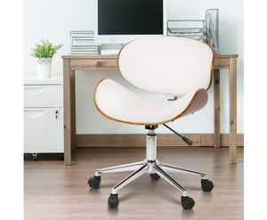 Wooden & Vinyl (PU Leather) Office Desk Chair - White