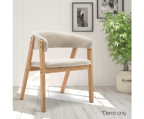 Artiss Linen Fabric and Wood Armchair - Beige