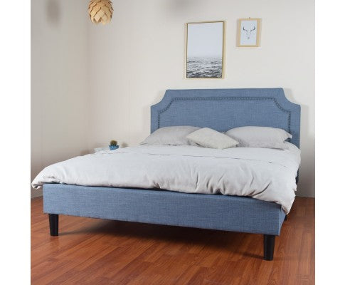 Reynard Queen Bed Blue Linen Fabric Upholstered