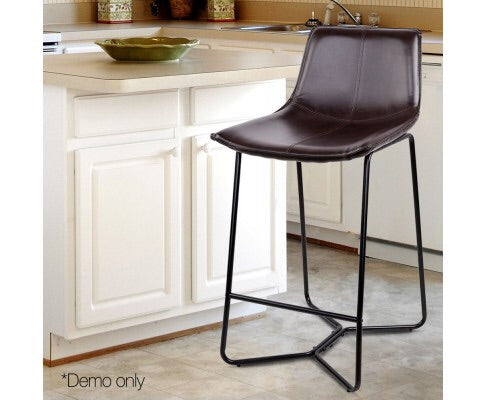 Artiss Set of 2 Bonded Leather Bar stools - Metal Black
