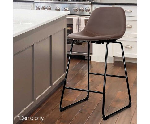 Artiss Set of 2 PU Leather Crosby Bar Stools