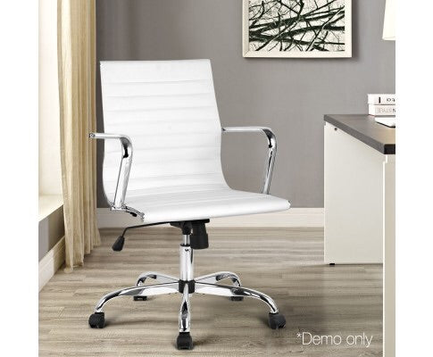 Vinyl Office Desk Chair Medium Back - White