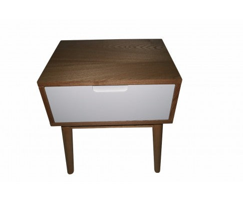 Annika Scandinavian Side Table with Drawer- White