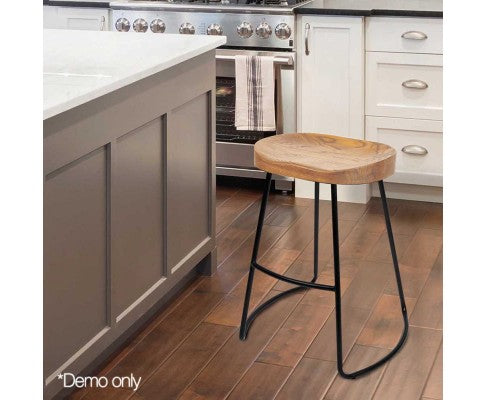 Set of 2 Steel Barstools with Wooden Seat 65cm - Nextlevel Furniture Australia