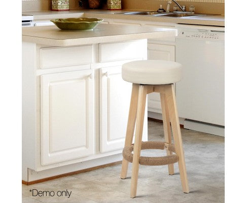 Set of 2 Vinyl Round Bar Stool - Beige
