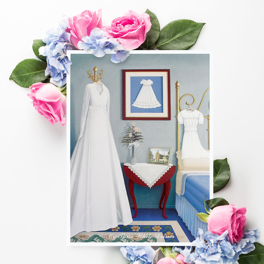 "3 White Dress Matted 5x7"" print"