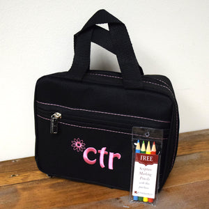 CTR Black with Pink Flower Scripture Tote