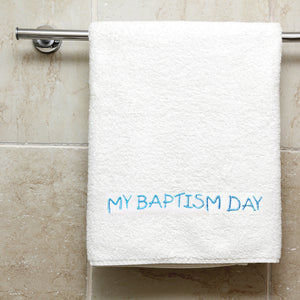 Blue Embroidered My Baptism Day Towel