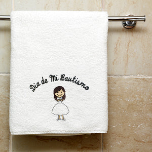 "Girl Baptism Towel Embroidered with ""Dia de Mi Bautismo"" Spanish"