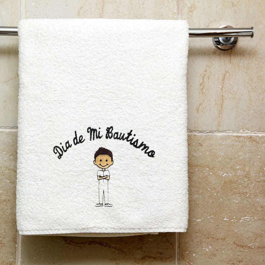 "Boy Baptism Towel Embroidered with ""Dia de Mi Bautismo"" Spanish"