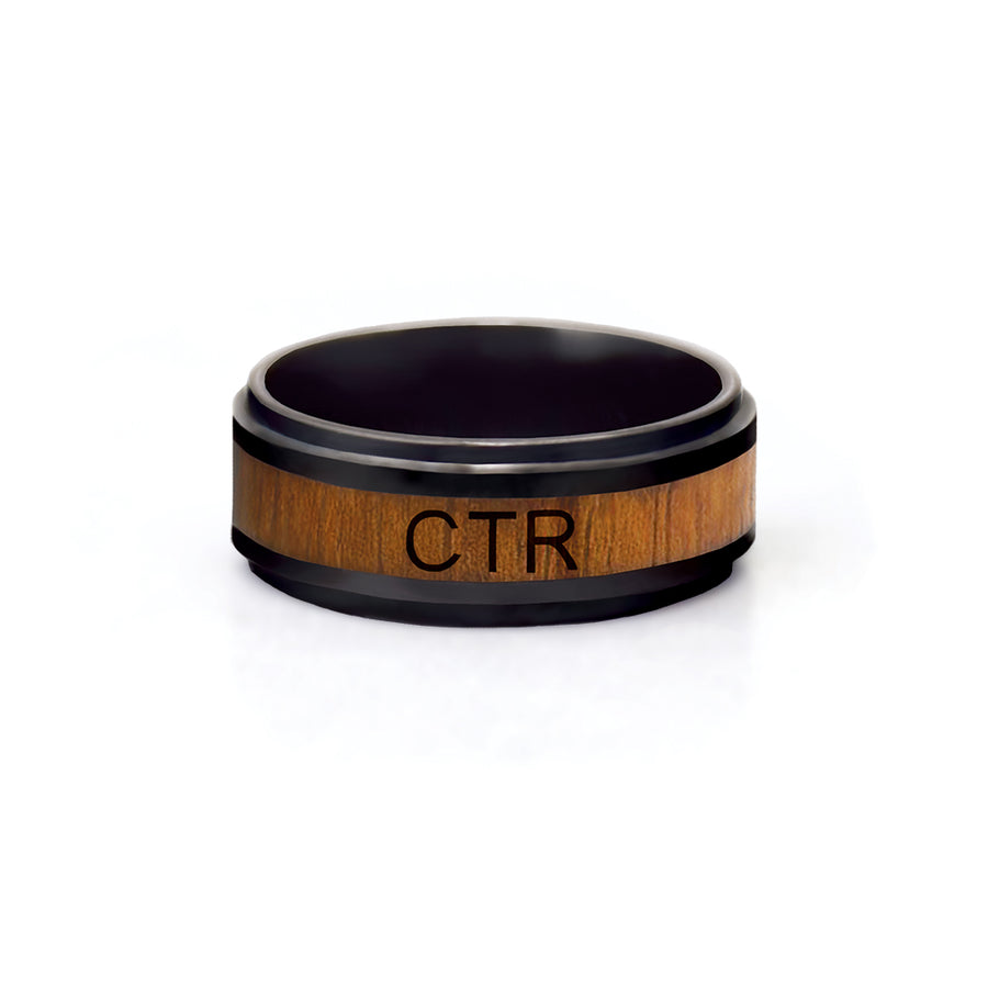 CTR Men's Designer Frontier Ring - Ceramic with Wood Inlay