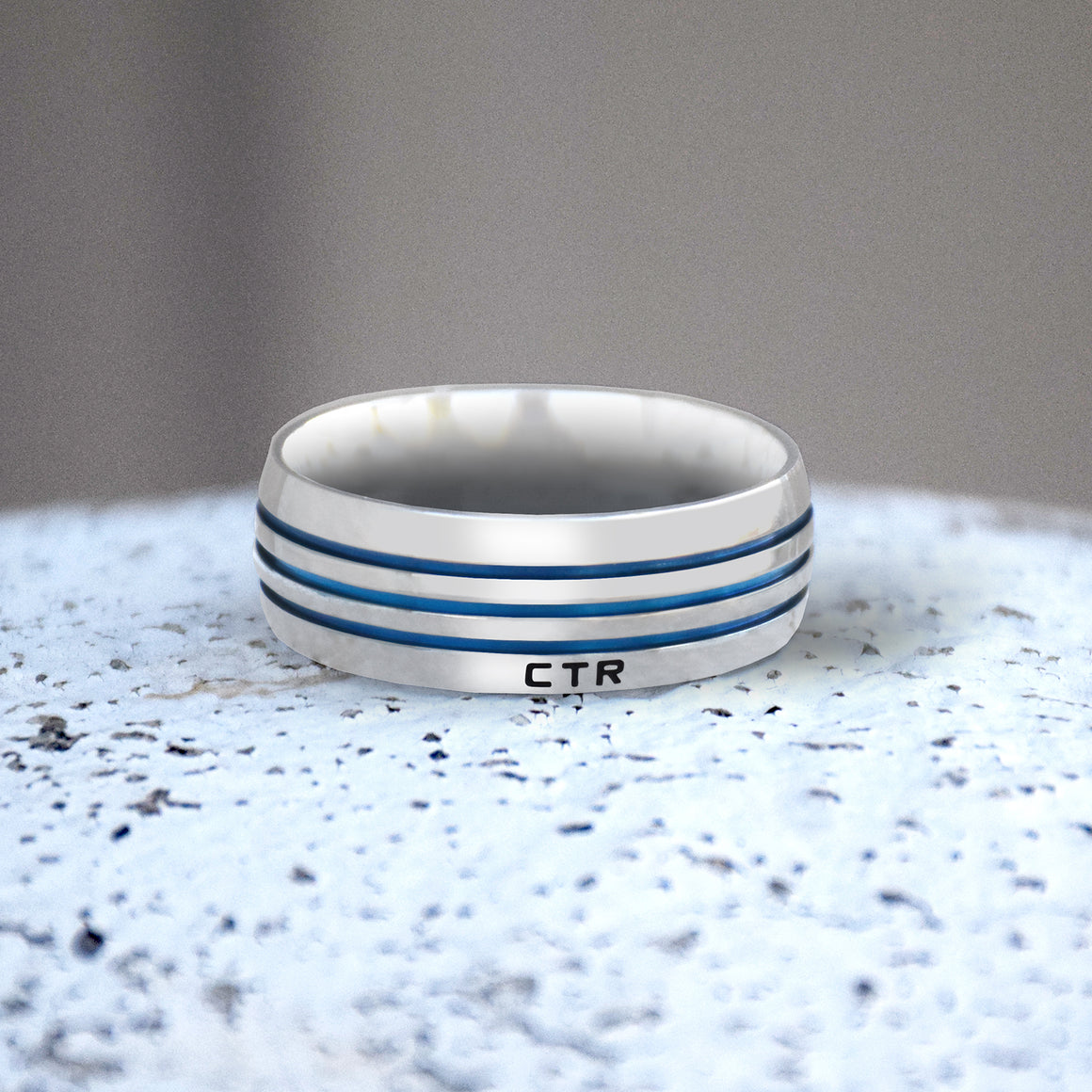 Azure Stripe CTR Men's Designer Ring - Stainless Steel