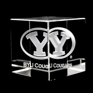 BYU Cougars Laser-Engraved Crystal Cube
