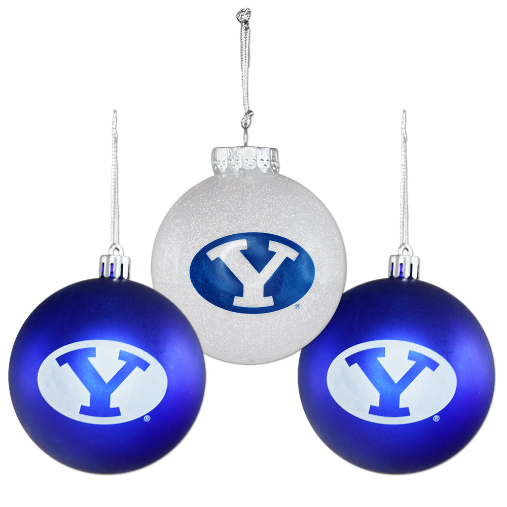 BYU Shatterproof Ornament 3-Pack