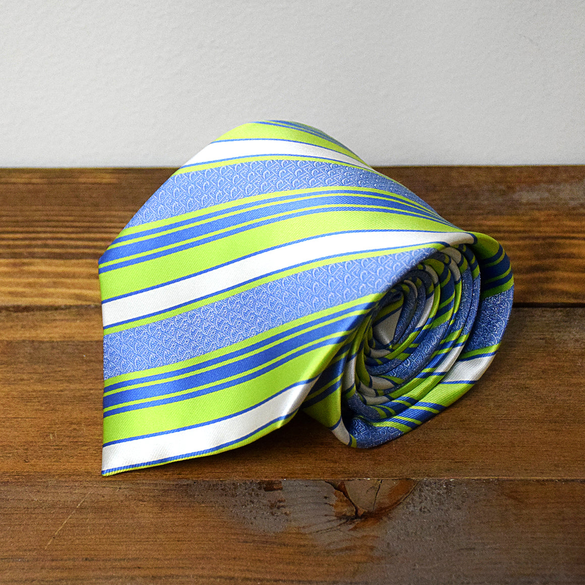 CTR Green and Blue Stripe Microfiber Necktie