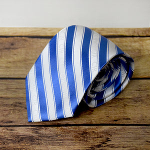 CTR Blue and White Stripe Microfiber Necktie