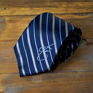 CTR Navy and Gray Stripe Microfiber Necktie