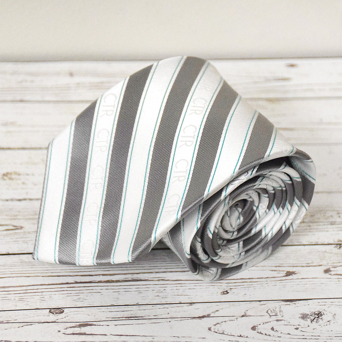 CTR Silver and White Stripe Microfiber Necktie