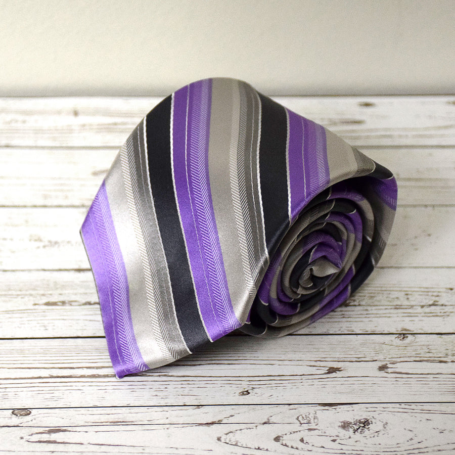 Purple and Silver Stripe Microfiber Necktie