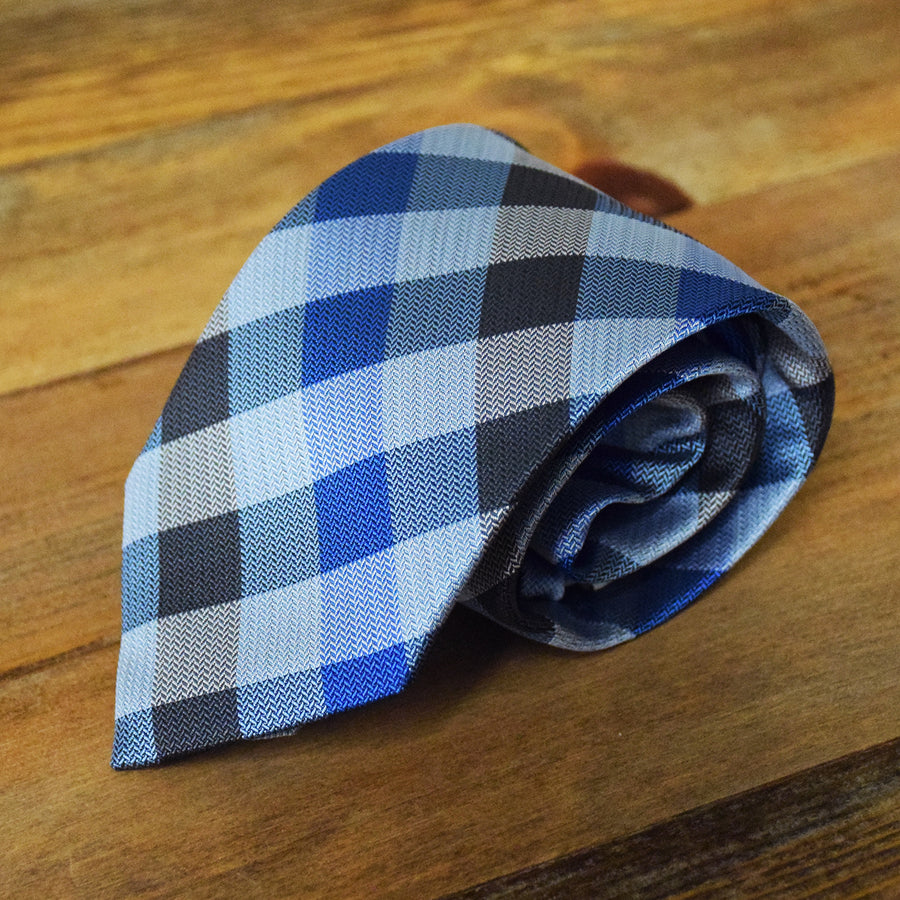 Blue and Black Plaid Microfiber Necktie