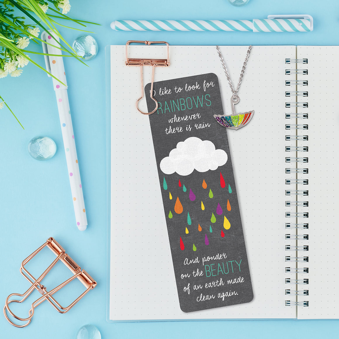 Baptism Rainbow Glitter Umbrella Necklace and Bookmark Set