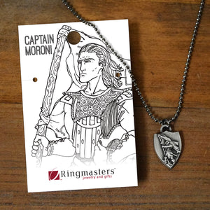 Captain Moroni Necklace shield shaped pendant