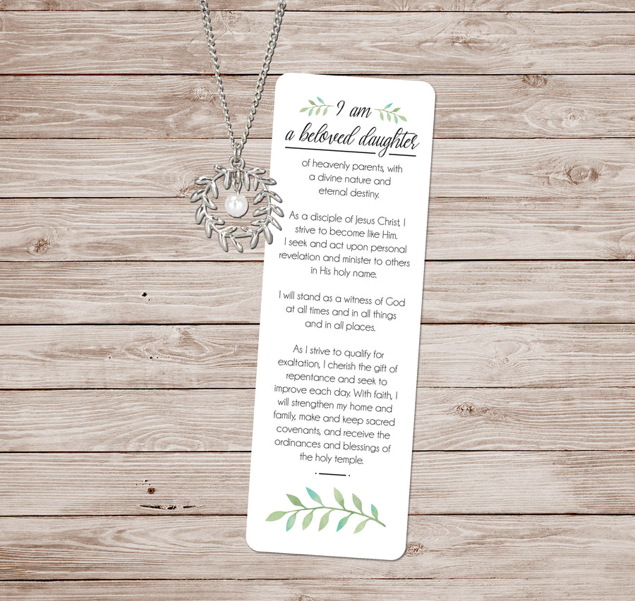 Young Women Theme I'm a beloved daughter Necklace & Bookmark