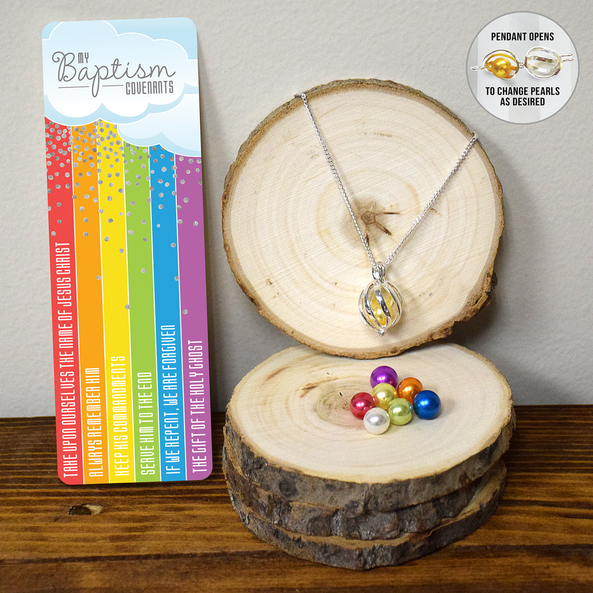 Baptism Rainbow Necklace & Bookmark Set