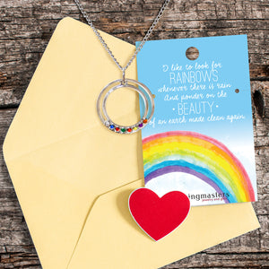 I Like to Look for Rainbows Baptism Circle Necklace