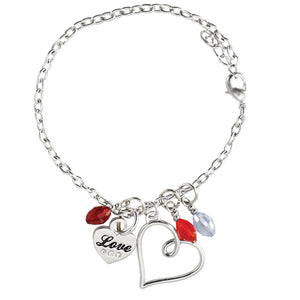 Birthstone Heart Charm Bracelet with rope chain