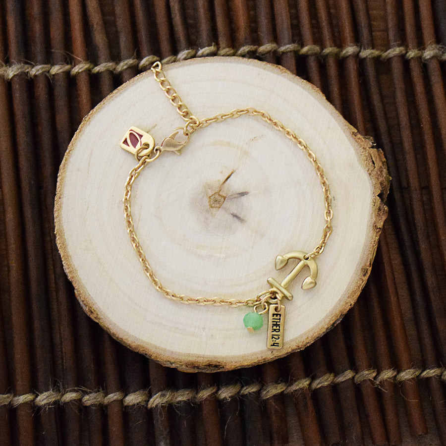 Hope Anchor Gold Finish Charm Bracelet