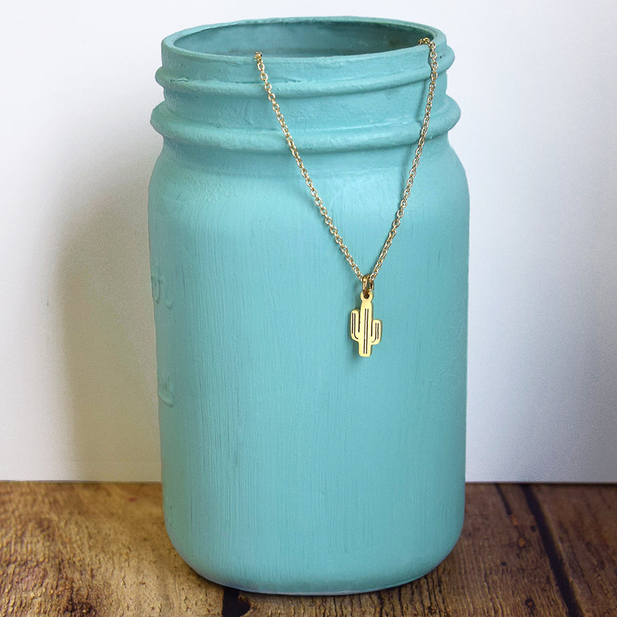Be A Cactus Dainty Necklace (Gold or Silver)