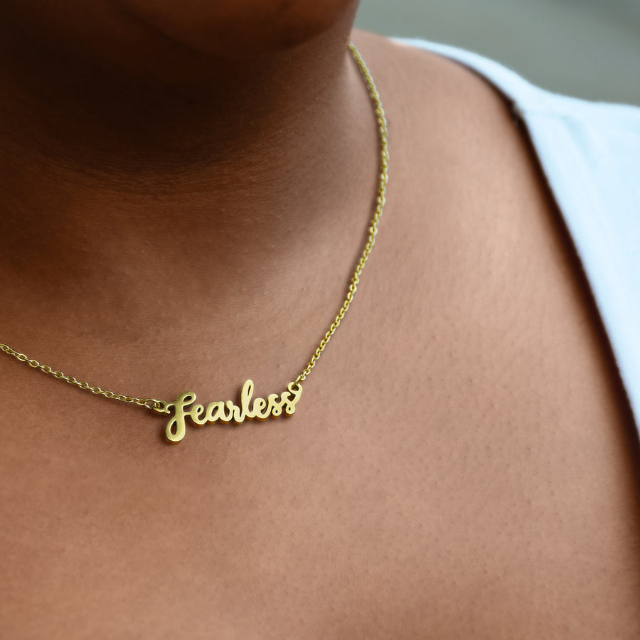 Fearless Script or Word Necklace