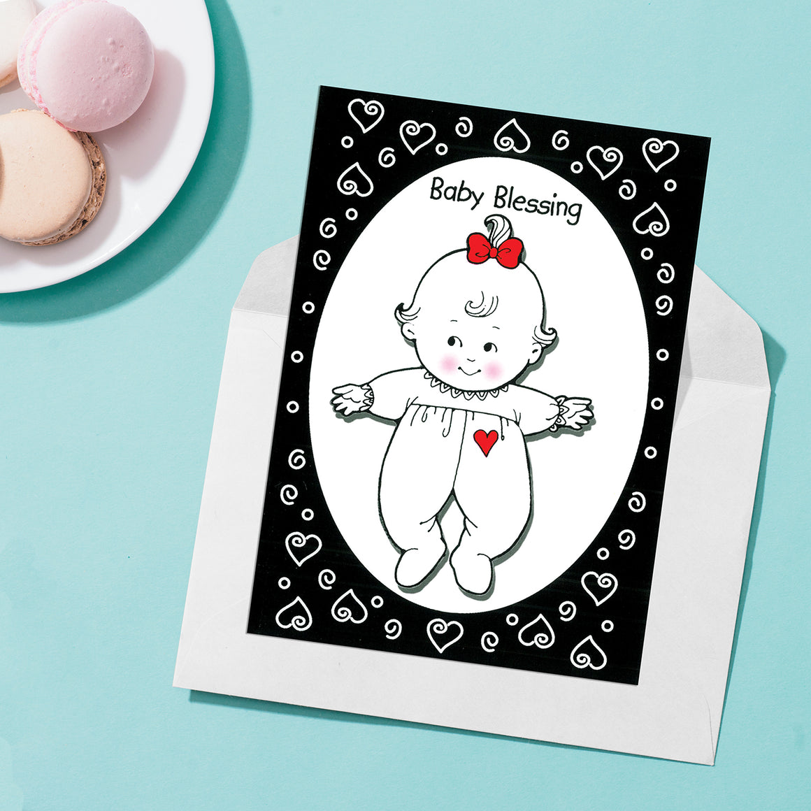 Girl Baby Blessing Greeting Card -  Black & White Design
