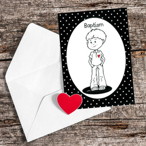 Black and White Baptism Boy Greeting Card
